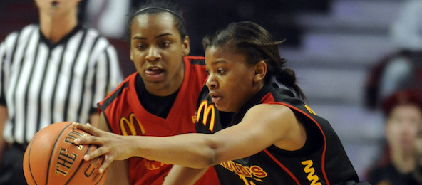 Before they were college stars at the point guard position, Ariel Massengale (in red) and Amber Orrange were McDonald's All-Americans.*Courtesy of GolinHarris