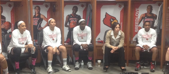 The Louisville Cardinals are focused and ready to defend the YUM! Center floor versus UConn. *Photo by Brandon Clay