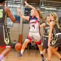 Class of 2016 guard Julia Braungart of Southampton, N.J., lights it up for the Philly Freedom Stars. - Photo cred - Ty Freeman/PSB