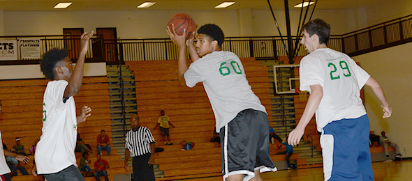 Class of 2016 post AJ Cheeseman of Duluth, Ga., showed his skills at EBA Top 40 Fall Workout. Photo Cred - PSB