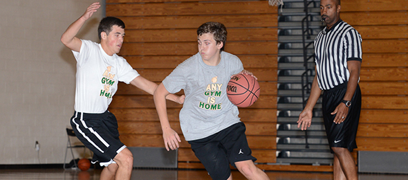 Class of 2018 guard Joseph Oropeza showed his skills at the Fall Workout. Watch for him to be a common name on the court in the future. Photo cred - PSB
