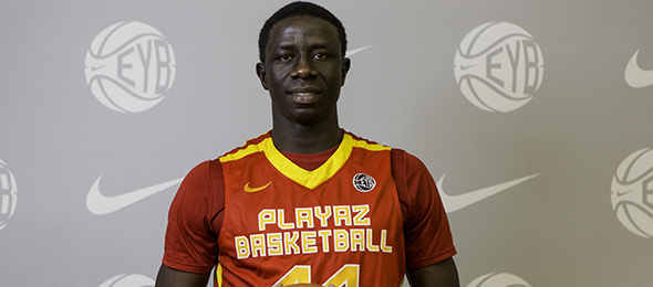 Class of 2015 center Moustapha Diagne of Newton, N.J., is a rebounding and shot blocking machine. He is signed to play at Syracuse next season. Photo cred - Jon Lopez/Nike