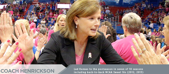 Kansas coach Bonnie Henrickson has Kansas poised to rise into the Big XII's elite.  *Courtesy of Kansas Athletics