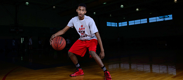 Class of 2019 wing forward Brandon Green of Lawrenceville, Ga., showed his potential at the EBA Top 40 Camp. His eval is here. Photo cred - Ty Freeman/PSB
