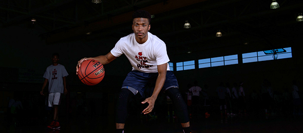 Class of 2016 guard Joshua Faulkner of Lawrenceville, Ga., showed his ability to get to the lane at the EBA Top 40 Camp. Read about him here. Photo cred - Ty Freeman/PSB