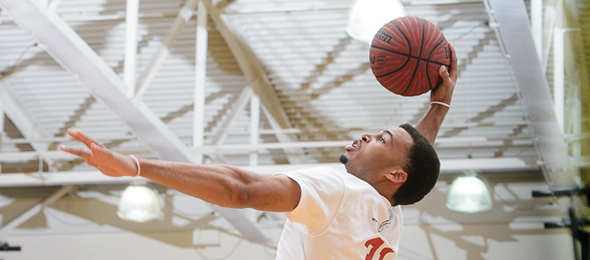 Class of 2016 guard Miles Riley of Buford, Ga., flew high at the EBA Top 40 Workout. Photo cred - Ty Freeman/PSB