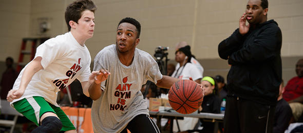 Available senior guard Xavier Morgan of Lawrenceville, Ga., showed his heart for the game at the EBA Top 40 Workout. - Photo cred - Ty Freeman/PSB