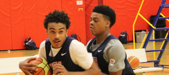 The stage was set for class of 2018 guard Tre Jones of Apple Valley, Minn., to show and prove. *Jenny Johnston / USA Basketball