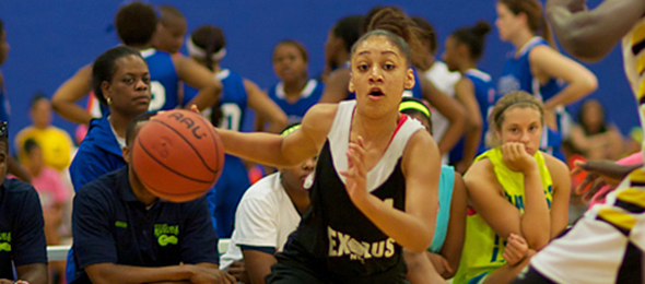 Class of 2014 point guard Bianca Cuevas just finished a stellar freshman season for the Gamecocks of South Carolina. Read how she got on the national stage with Exodus NYC years ago. Photo cred - Chris Hansen/ProspectsNation.com