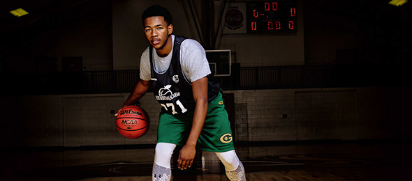 Class of 2018 point guard Travis Anderson of Grayson, Georgia, proved his talent at the #EBAAllAmerican Camp. Photo cred - Ty Freeman