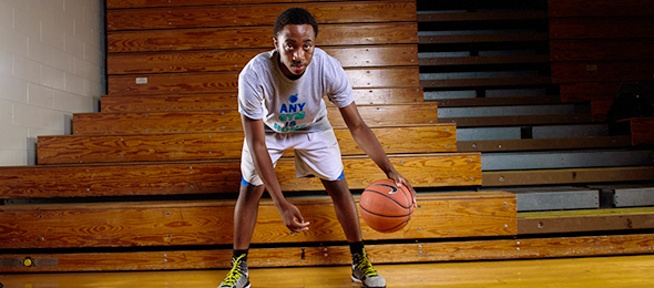 Class of 2016 point guard Kevin Louis-Charles of Lawrenceville, Ga., showed his skills this fall. Read about his game on his #BCSReport Player Card. Photo card - Ty Freeman/#EBAAllAmerican