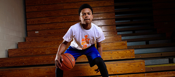 Class of 2018 point guard Miles Long of Lawrenceville, Ga., showed why he has promise in front of him at the Elite Basketball Academy. Photo cred - Ty Freeman/#EBAAllAmerican