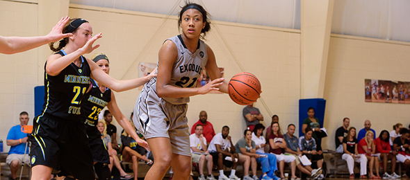 Class of 2016 wing Arella Guirantes of Bellport, N.Y., was the national break out player of the summer. Read about her and her Exodus teammates in the #PSBFamily Program Review. Photo cred - Ty Freeman/#PSBPower48
