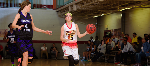 Class of 2016 guard Madison Zaferatos of Bermuda Run, N.C., earned a scholarship from Brenau while playing with the Carolina Express. Photo cred - Ty Freman/#PSBEndoftheRoad