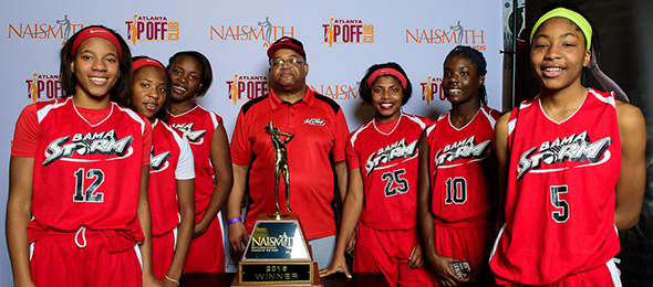 Coach Brian Thomas and the Bama Storm pose at the #PSBEndoftheRoad with the Naismith Trophy. Read their #PSBFamily Program Review here. Photo cred - Ty Freeman