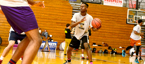 Class of 2018 guard Kevin Kayongo of Lawrenceville, Ga., is a promising prospect. He showed why at the #EBATop40 Camp. Photo cred - Ty Freeman