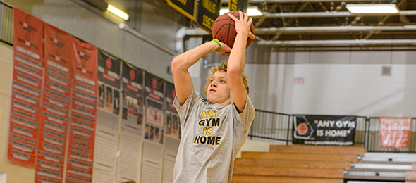 Class of 2017 guard Sam Schneidmiller of Wesley Chapel, Fla., got on the radar at the #EBATop40. Photo cred - Ty Freeman