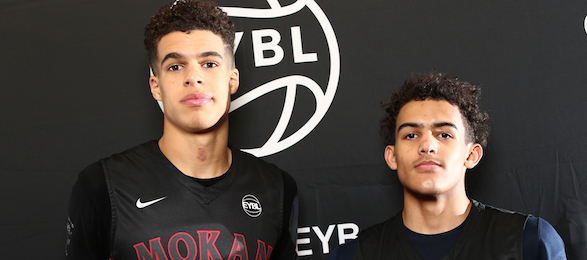 Michael Porter, Jr. #1 of KD Mokan Elite and Trae Young #11 of KD Mokan Elite. (Photo by Jon Lopez)