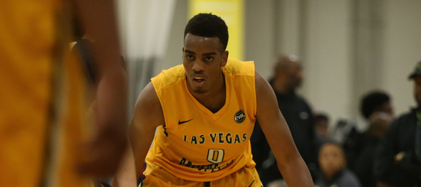 Troy Brown, Jr. #0 of Las Vegas Prospects dribbles. (Photo by Jon Lopez)