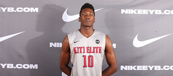 After re-classifying into the class of 2017, Bruno Fernando of Montverde, Fla., established himself as a 5-star prospect. Photo cred - Jon Lopez/Nike