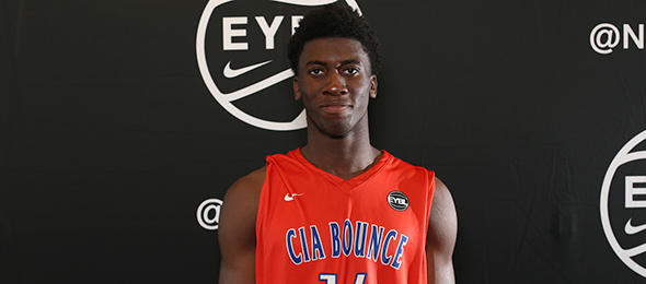 Our team of evaluators saw Shimi Shittu dominate with Montverde Academy and on the FIBA circuit. He is a 5-star prospect in 2018. Photo cred - Jon Lopez/Nike