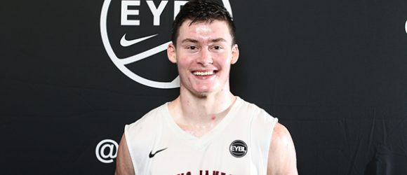Class of 2017 forward Kyle Young of Canton, Ohio, showed his diversified skill set this year on the EYBL circuit. Photo cred - Jon Lopez/Nike