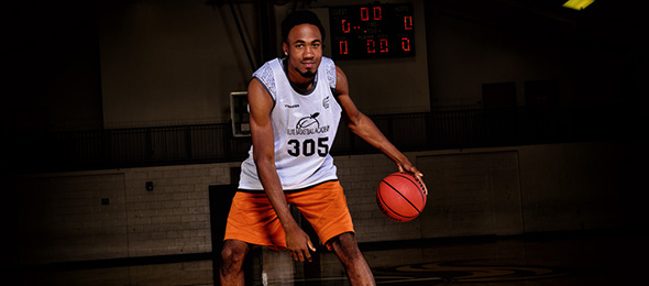 Class of 2017 Gerald Buncum of Grayson, Georgia, defended the paint effectively at #EBAAllAmerican Camp. Photo cred - Ty Freeman