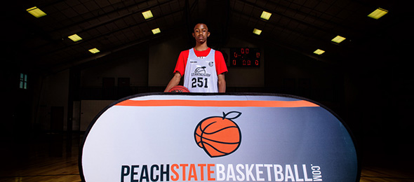 Class of 2022 guard Tremain Davis III of Awtrey, Georgia, showed his skills at #EBAAllAmerican Camp. Photo cred - Ty Freeman