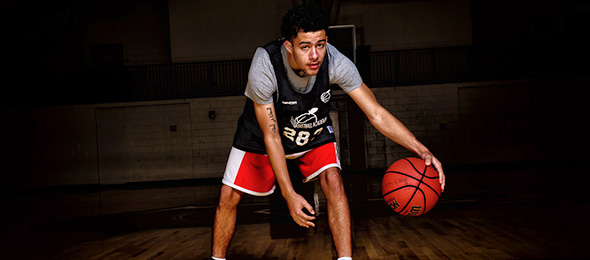 Class of 2018 guard Brian Liles of Lawrenceville, Georgia, showed his shooting touch at #EBAAllAmerican. Photo cred - Ty Freeman