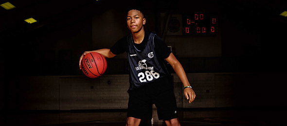 Class of 2019 point guard Alan Sims of Brookwood HS, grew his game at #EBAAllAmerican Camp. Photo cred - Ty Freeman